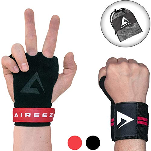 Aireez® 2 in 1 Crossfit Handschuhe SR Pull up Grips Für Handschutz & Handgelenk Bandagen Set, Hand Grips, Calisthenics Handschuhe, Turnen Riemchen (Damen & Herren) für Freeletics, Gymsnatik & Wodies