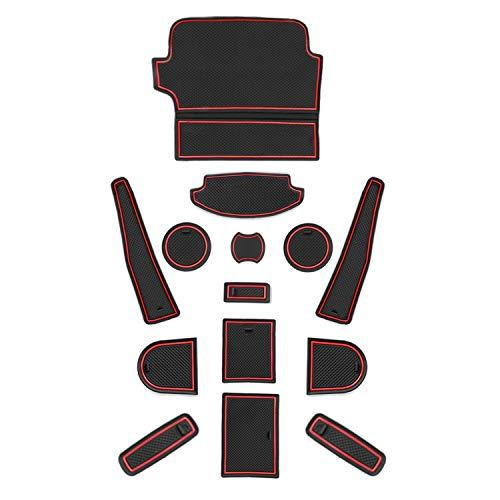 CDEFG für Ford Fiesta ST MK8 Gummimatten Auto Innere Antirutschmatte Türschlitz rutschfest Anti-Staub Becherhalter Gummi Matten Arm Box Aufbewahrung Innenraum Pads Zubehör (Rot)