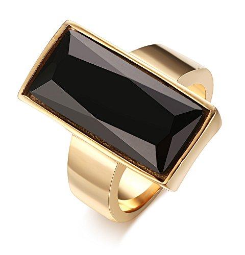 Acero inoxidable chapado en oro anillo de las mujeres de moda de cristal rectangular, negro/verde/blanco/azul