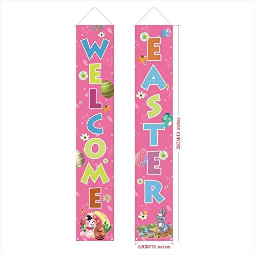 WXGY Outdoor Indoor Ostern Veranda Zeichen Kaninchen Ei Dekoration Willkommen Ostern Hängen Banner Home Party Supplies Haustür Zeichen