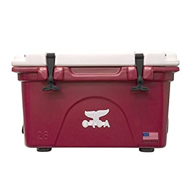 Outdoor Recreational Company of America Cooler with Lid & Bottom, White/Crimson, 26 quart