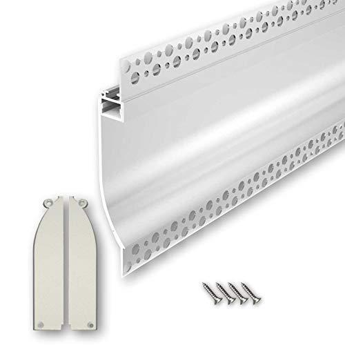 PITO133 (PT133) Trockenbau Profil Aluminium 2m eloxiert | Trockenbau leiste für Led Streifen bis 1,3cm Breite | Trockenbauschiene + Acryl Abdeckung milchig weiß (opal) + Endkappen |Aluprofil belastbar
