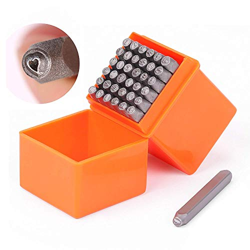 HORUSDY 37-Piece Number and Letter Stamp Set 1/8 (3mm) (A-Z & 0-9 + Love) Punch Perfect for Imprinting Metal, Plastic, Wood, Leather.