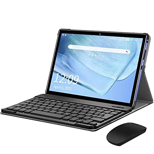 Tablet 10-Zoll Android 10 Tablet PC Mit Tastatur 4G LTE SIM, 3 GB RAM + 32 GB ROM, Quad-Core-Prozessor, GMS-Zertifizierung, 8000 mAh, 1080p Full HD IPS-Display, Wlan/Bluetooth/GPS Windows Tablet