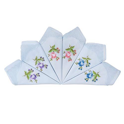 HOULIFE Damen Taschentücher aus Baumwolle Weich Hellblau Blumen Stickereien Stofftaschentücher mit Spitzen 6/12 Stücke 29x29cm Weihnachtsgeschenke