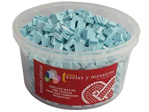 Cubo 1000 teselas azul celeste para mosaico planas de 7,5x7,5x3 mm. + regalo cola blanca uso escolar