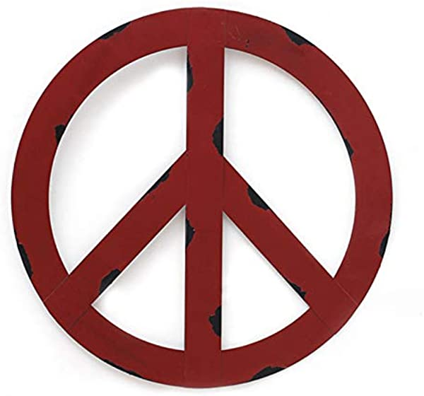 WHY Decor Outdoors Metal Peace Sign Wall Decor Art 16 Rustic Hippie Plaque Hanging Vintage Metal Peace Sign Rustic Red Metal Groovy Peace Sign For Home Decor Peace Everywhere 16 X Large