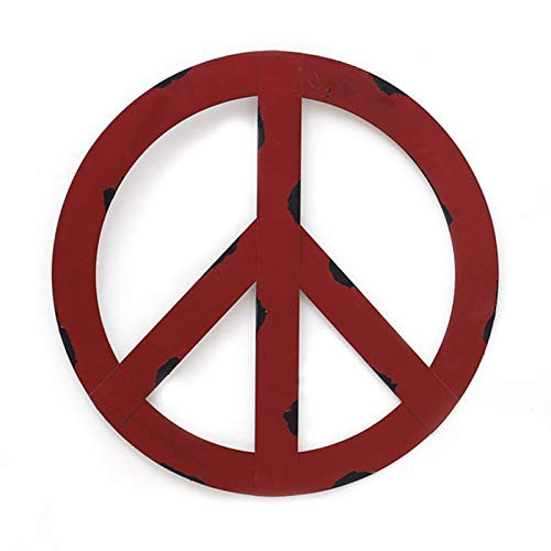 """WHY Decor Outdoors Metal Peace Sign Wall Decor Art - 12"""" Rustic Hippie Plaque, Hanging Vintage Metal Peace Sign, Rustic Red Metal Groovy Peace Sign for Home Decor, Peace Everywhere 12"""" (Large)"""