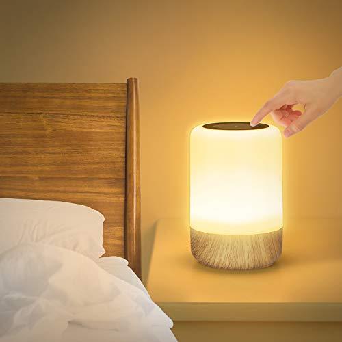 LED Nachttischlampe Touch Dimmbar, Tischlampe Batteriebetrieben 8 Farben und 3 Modi, Holzmaserung Nachtlicht Batterie USB-Aufladung mit Timing-Funktion für Schlafzimmer Wohnzimmer und Büro