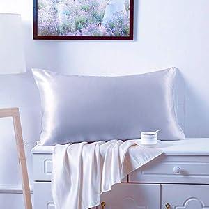 Juwenin Home Funda de almohada de satén sedoso para el cabello y la piel facial para evitar arrugas con cremallera oculta (plata, estándar (50 x 75 cm) 1 unidad)