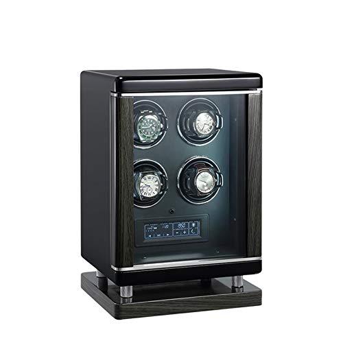 ZCXBHD 4 relojes devanadera para relojes automáticos pantalla táctil LCD huella digital inteligente con control remoto luz LED azul 6 ajustes diferentes motores silenciosos cuero negro