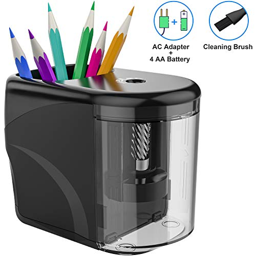 RIYO Electric Pencil Sharpener Heavy-duty Sharpener Adapter/Battery Operated Pencil Sharpener With Cleaning Brush Ideal for No.2(6-8mm) Pencils and Colored Pencils in School/Office/Home