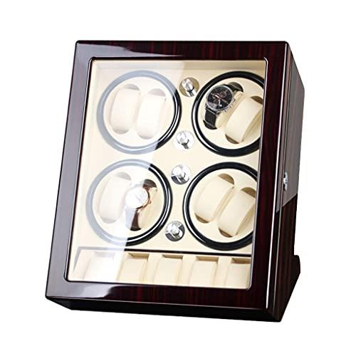 SGSG De Madera de Lujo Giratorio automático enrollador de Reloj 8 + 6 Vitrina de Almacenamiento Piano Pintura Almohada de Cuero Caja de Almacenamiento de Motor silencioso de Japón