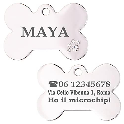 Iberiagifts - Osso in Acciaio Deluxe con brillantini a Forma di Zampa Personalizzata Targhetta Medaglietta identificativa Collare Cane Gatto Animale Domestico con incisione