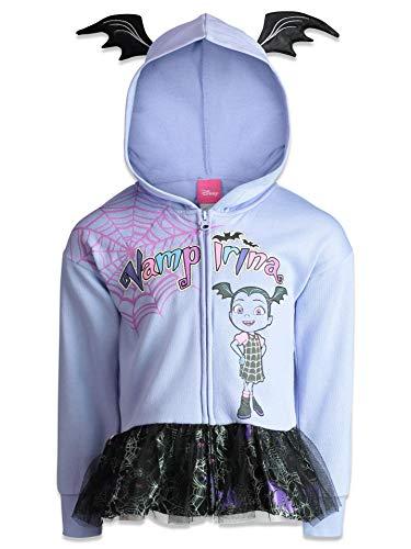 Disney Vampirina Toddler Girls' Zip-up Hoodie Ruffle French Terry, Purple 5