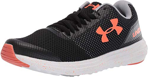Under Armour Kids' Grade School Surge Sneaker, Black (004)/White, 7