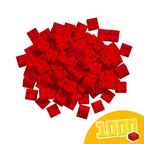 Simba 104114117 Blox, 1000 rote Bausteine Made in Italy, 4er Steine, im Karton, incl. Füllbecher und 100 Prozent kompatibel mit bekannten Spielsteinen