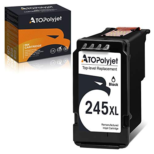ATOPolyjet Remanufactured Ink Cartridge Replacement for Canon 245 XL PG-245XL 245XL PG-243 Black 1-Pack Fit PIXMA TR4520 TR4522 MG3022 MG2522 TS202 MX492 MG2922 MG2920 MX490 iP2820 TS302 Printer