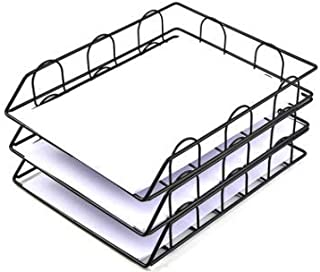 3-layer Stationery Tray, Stackable Stationery Tray, Desk Neat File Document Stationery Organizer Metal-B