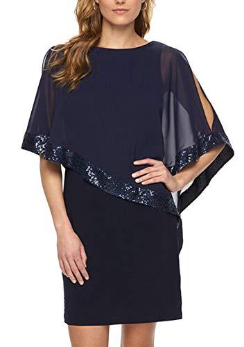 YMING  Damen Chiffon Kleid Sommerkleid Bleistiftkleid Elegante Fifurbetontes Kleid, XXL, Dunkelblau