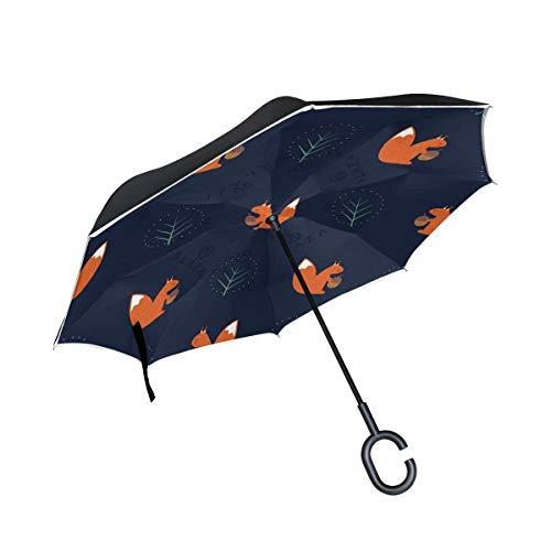 rodde A Prueba de Viento con Mango en Forma de C para Lluvia Paraguas inversos al Aire Libre Silueta Dibujada a Mano Elefantes Palos invertidos de Doble Capa