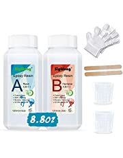 Epoxy Resin Clear Crystal Coating Kit 240ml/8.8oz - 2 Part Casting Resin for Art, Craft, Jewelry Making, River Tables, Bonus 2 Gloves, 2 Measuring Cup and 2 wooden sticks