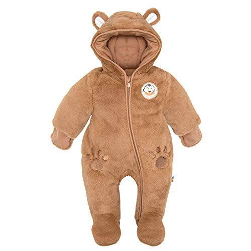 DDY Newborn Baby Girl Boy Snowsuit Hooded Fleece Rompers Flannel Footed Jumpsuit Onesies Winter Outwear Outfits Brown