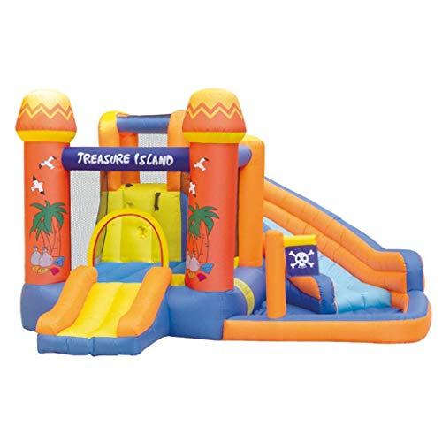 MXXQQ Castillo Hinchable Inflable con trampolín, Piscina Infantil, tobogán acuático y Pared de Escalada Piscina Inflable Grande para niños - 340x340x215cm