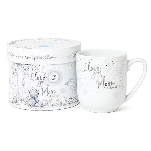 Taza con texto en inglés 'Love You to The Moon & Back' en caja de regalo