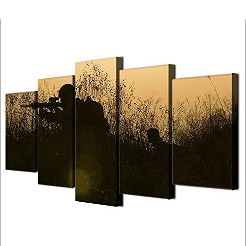 5 Piezas de Arte Marco Cuadros Decoracion Salon Siluetas de Armas de Soldados Moderno HD sobre lienzos impresión Cuadro Usado para Sala Oficina Hogar Decoracion de Pared