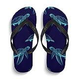 InterestPrint Men's Non-Slip Flip Flop Slippers Marine Animal Graphic Turtle Beach Thong Sandal L