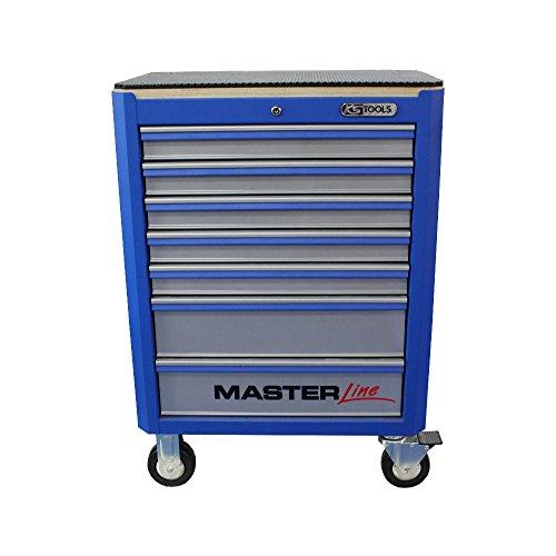 KS Tools Werkstattwagen Masterline blau/silber 7 Schubladen / 5 Schubladen kpl. mit Werkzeug bestückt - incl.Holzplatte