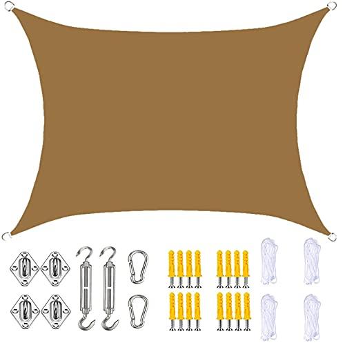 YLSS Parasol Impermeable Rectangular De 4 MX 4 M con Kit De Fijación Toldo con Protección Solar Anti-UV Toldo 90% De Bloqueo UV para Jardín Al Aire Libre Patio Trasero Camping,Sand
