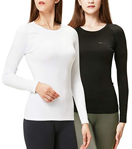 DEVOPS Women's 2 Pack Thermal Long Sleeve Shirts Compression Baselayer Tops (Small, Black/White)