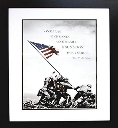 Buyartforless Wenn ebn1036Professionell gerahmt Diese Flagge auf Iwo Jima Foto 28x 22mit Zitat von Oliver Wendell Holmes Kunstdruck Poster Historic World War 2Pacific vorne Große Kunst