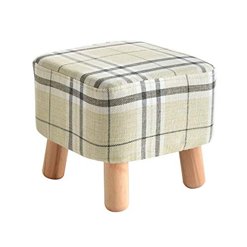 IBUYKE Wooden Upholstered Footstool Ottoman Pouffe Stool Low Stool Fabric Sofa Stool Small with Removable Linen Cover 4 Legs Padded for Shoes Wearing Stool Square Stripe RF-BD019