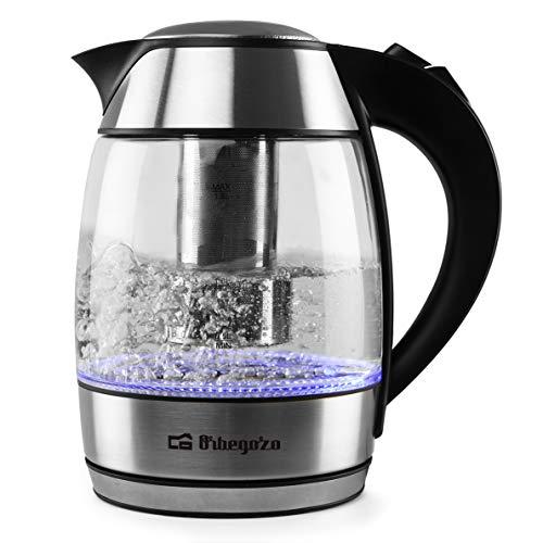 Orbegozo KT 6040 - Hervidor de agua con filtro para infusiones, jarra de vidrio extraíble, mango de tacto frío, iluminación LED, libre de BPA, 2200 W