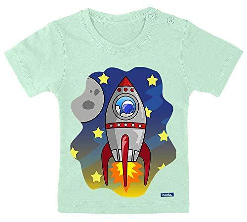 Hariz - Camiseta para bebé, diseño de cohete en el espacio del mundo astronauta Plus, tarjetas de regalo, pasta de dientes verde, 3-9 meses, 60-69 cm