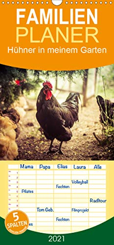 Hühner in meinem Garten - Familienplaner hoch (Wandkalender 2021, 21 cm x 45 cm, hoch)