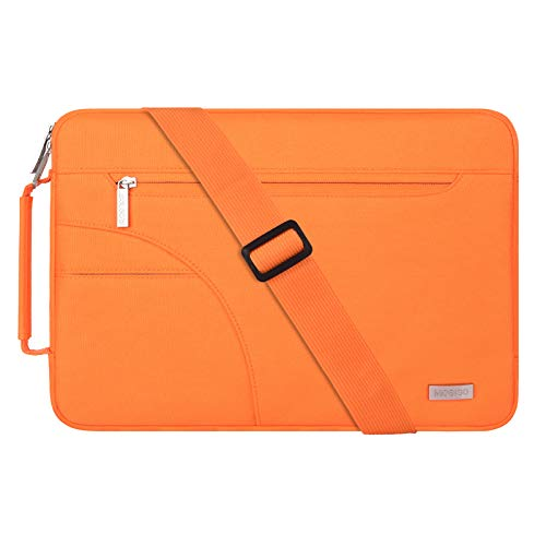 MOSISO Funda Protectora Compatible con 13-13.3 Pulgadas MacBook Air/MacBook Pro/Notebook Portátil, Bolsa de Hombro Blanda Maletín Bandolera con Asa Lateral, Naranja