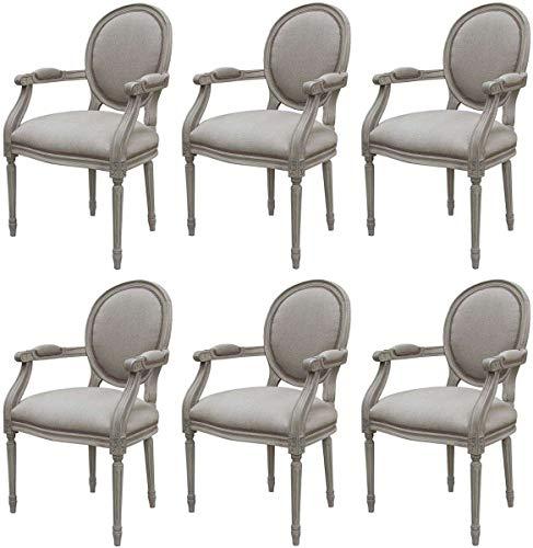 Casa Padrino Conjunto de sillas de Comedor medallón Barroco de Lujo Gris 57 x 50 x A. 95 cm - Sillas de Comedor con reposabrazos Hechas a Mano en Estilo Barroco - Muebles de Comedor barrocos