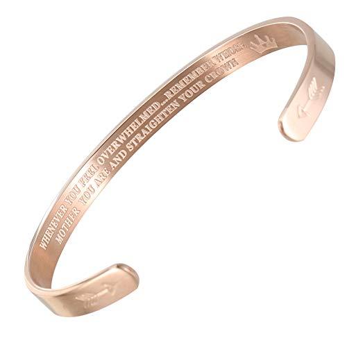 Fanville Bangle gegraveerd rechtzetten uw kroonarmband roestvrij staal gegraveerd manchet armband gepersonaliseerd geschenk voor moeder dochter meisje