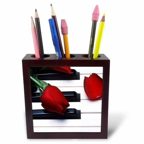 3drose PH 56956 1 rode tulpen op Piano keys-tile penhouder, 12,7 cm