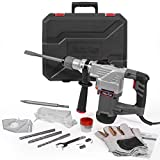 XtremepowerUS 1180W 1-1/4' SDS-Plus Heavy Duty Rotary Hammer Drill Functions Chisels and Drill Bits Set with Case