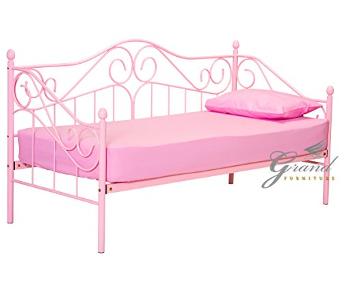 Joseph Pink Girls Metal Day Bed with Trundle Victorian Style 3FT Single Guest Bed Frame (Without Trundle)