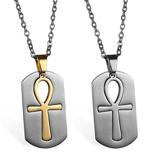 JewelryWe 2pcs Collar de Hombre Colgante de Cruz Egipcia Ankh, Acero Inoxidable Placa Collar Original de Color Plata Oro Cadena 55cm, Buen