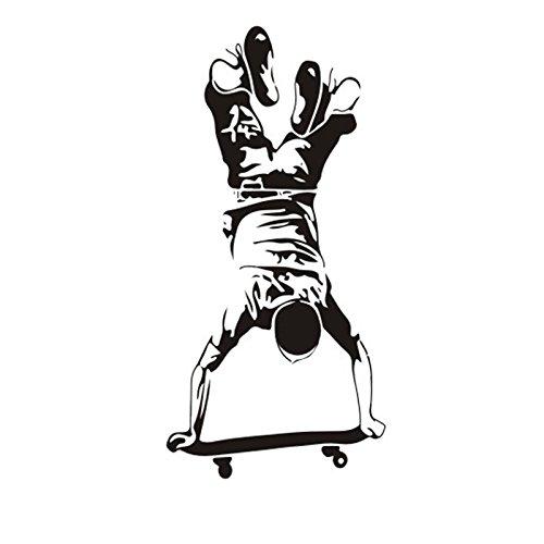 CAOLATOR Wandtattoo Skateboard Junge Kreativ Wandaufkleber Mode-Stil PVC Klebeband Aufkleber Wandsticker Für die Wanddekoration Schlafzimmer Kinderzimmer Schwarz (119 * 57cm)