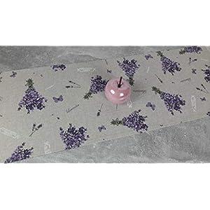 """ASTRA Tischläufer""""Lavendel"""" mit Spitz-Ecken, Dekostoff, Leinenoptik, pflegeleicht, beige-lila, 135/30 cm"""