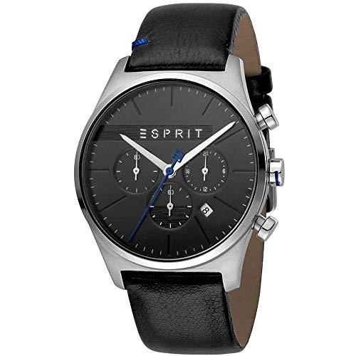 Esprit Edelstahl-Chronograph mit Lederarmband