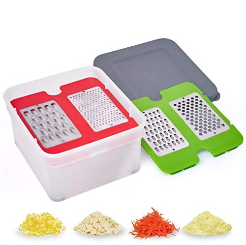 Nurch Cheese Grater with Container 4 in 1 Box Grater with Stainless Steel Blades Cheese Vegetable Slicer for Carrot Potato Easy to Use